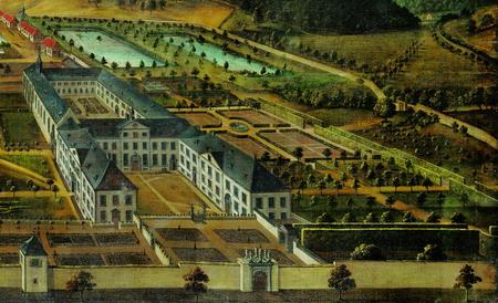 Abb. 2: Die Abbildung zeigt einen Ausschnitt aus der Vedute zu Ehren des Priors Bartholdus Schonlau (1708–1730), aus der Zeit um 1740. In der rechten Bildhälfte der perspektivisch leicht verzerrte Bereich des ehemaligen Konventgartens.
