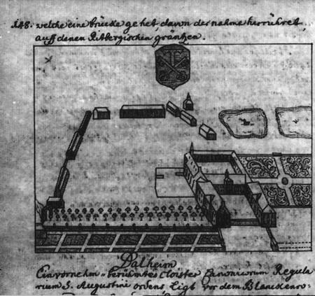 Abb. 3: Nur in dieser Zeichnung von J. C. Pyrach aus der Zeit um 1740 sind umfangreiche Broderien auf der Hauptterrasse des Konventgartens dargestellt. Da die Zeichnung aber ansonsten eindeutig an die Schonlau-Vedute angelehnt ist, läßt sich das wohl eher als phantasievolle Ausschmückung deuten. Foto: Erzbischöfliche Akademische Bibliothek, Paderborn