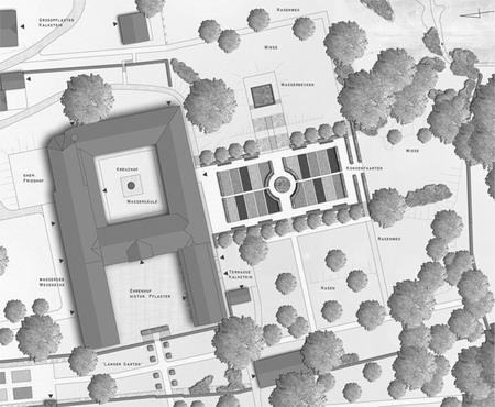 Abb. 7: Der Entwurf aus dem Jahr 2004 zeigt die geplanten Baumaßnahmen und Umgestaltungen. Die hier dargestellten Planungen im unteren Bereich des Gartens mit dem quadratischen Brunnen kommen nicht zur Ausführung, da die Untersuchungen hier noch nicht abgeschlossen sind und eine Erschließung erst nach Abschluß der Bauarbeiten an den Klausurgebäuden erfolgen kann. Plan: Büro Wette + Küneke, Hamm